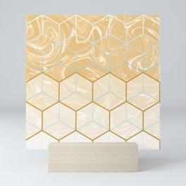 Geometric Effect Caramel Marble Design Mini Art Print