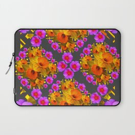 Hot Pink Roses Golden Daffodils Dark Grey Art Laptop Sleeve
