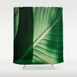 Close Up Of Green Tropical Textured Leaf Shower Curtain