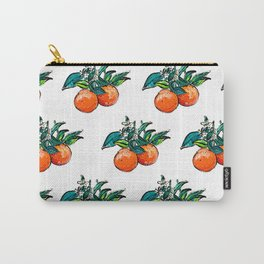 Oranges and Orange Blossom California Citrus Pattern Painting on White Carry-All Pouch