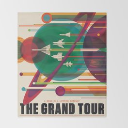 Retro Space Poster - The Grand Tour Throw Blanket