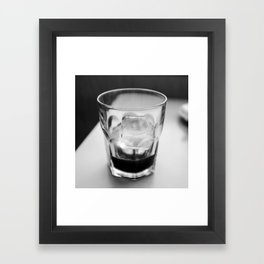 Timeless | Modern abstract black white coffee ice photography Framed Art Print