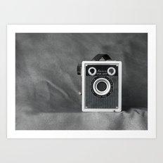 Vintage Camera in Gray  Art Print