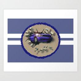 Blue Car Smashing Through Wall Art Print