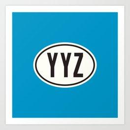 Toronto Ontario Canada YYZ • Oval Car Sticker Design with Airport Code • Ocean Blue Art Print