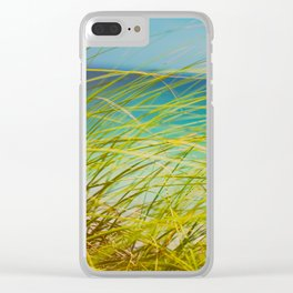 Seagrass By The Ocean Blue Waves Colorful Green To Blue Gradient Clear iPhone Case