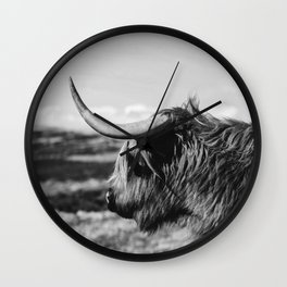 Highland Cow Looking in the Distance Black and White Wall Clock