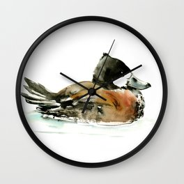 Ruddy Duck, duck artwork duck wall art design brown black Wall Clock