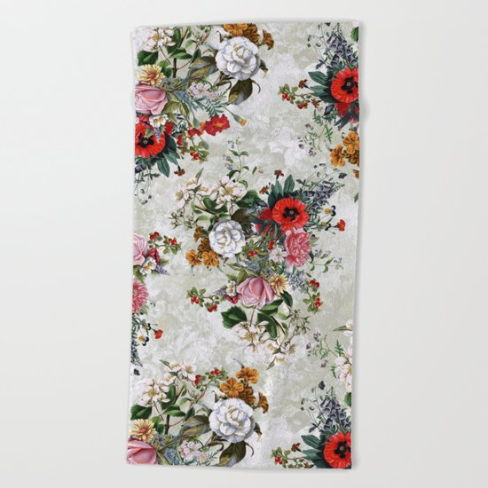 Botanical Flowers IV Beach Towel