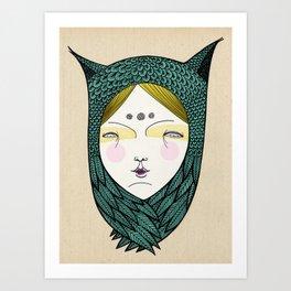 The owl girl Art Print
