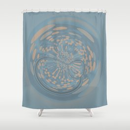 Soft Blue and Beige Circle Abstract Shower Curtain