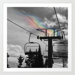 4 Seat Chair Lift Rainbow Sky B&W Art Print