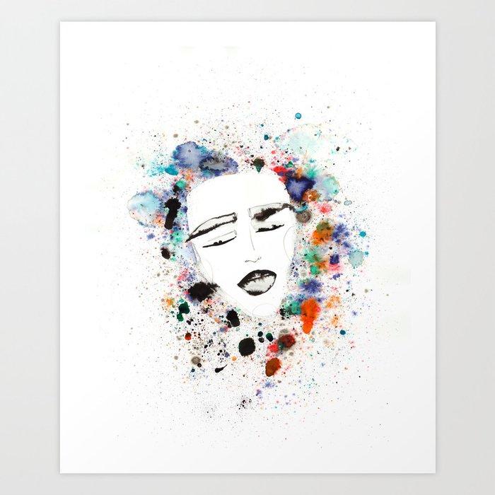 Sleepy Face in Spatter Pillow Art Print