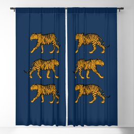 Tigers (Navy Blue and Marigold) Blackout Curtain