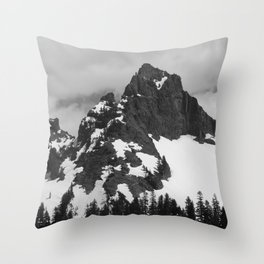 Rainier in Black and White Throw Pillow
