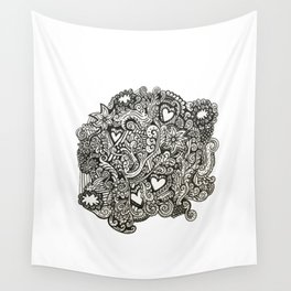 Baesic Hearts & Cloud Doodle Wall Tapestry