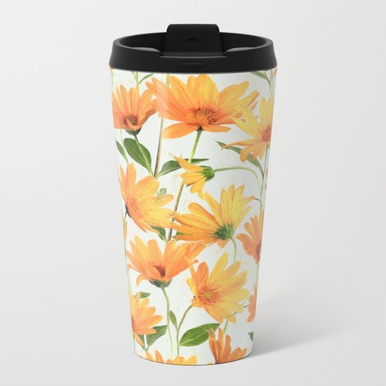 Painted Radiant Orange Daisies on off-white Metal Travel Mug