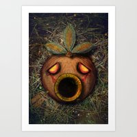 majoras mask Art Prints featuring Deku Mask by Stephano Herrera