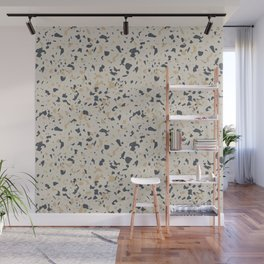 Terrazzo Pattern - Neutral Beige, Blue, Light Orange Wall Mural