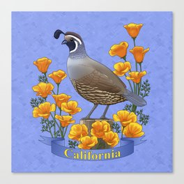 California State Bird Quail and Golden Poppy Canvas Print