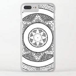 Flower Star Mandala - White Black Clear iPhone Case