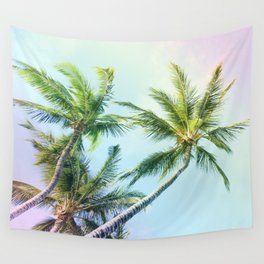 Relaxing Rainbow Color Palms Wall Tapestry
