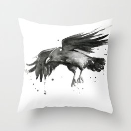 Raven Watercolor Bird Painting Black Animals Throw Pillow