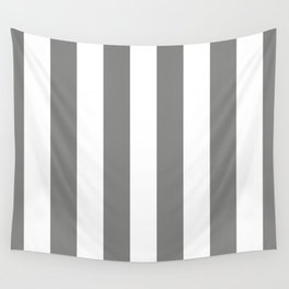 Large Battleship Gray and White Vertical Cabana Tent Stripes Wall Tapestry