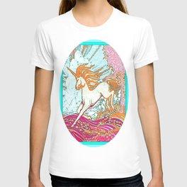 Mythical Unicorn Running in  Meadow Fantasy Art T-shirt