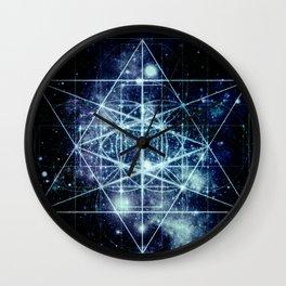 Galaxy Sacred Geometry Flower of Life Ocean Blue Wall Clock