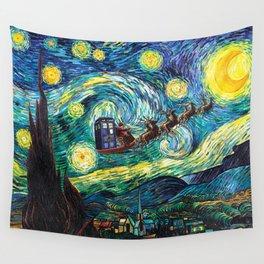 Tardis Santa Starry Night Wall Tapestry