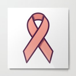 Vaginal Cancer Is for Peach Ribbon Metal Print