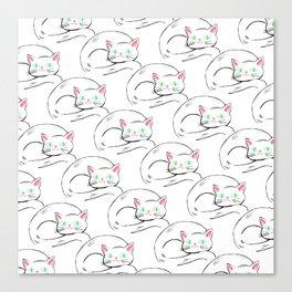 Cozy White Kitty Pattern Canvas Print