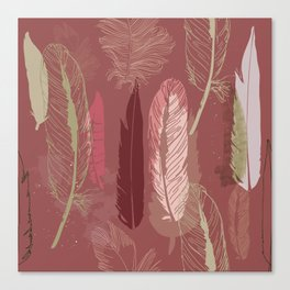 Feather Pattern in Marsala Wine Canvas Print