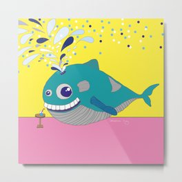 Hugo the Whale Metal Print