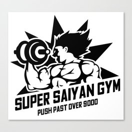 Super Saiyan Gym Push past over 9000 Canvas Print