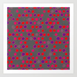 Scatter Dots in Gray & Hot Reds Art Print