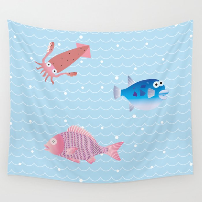 Snapper, Squid, Globefish and Wave Wall Tapestry