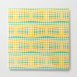 Dottywave - Green Yellow wave dots pattern Metal Print