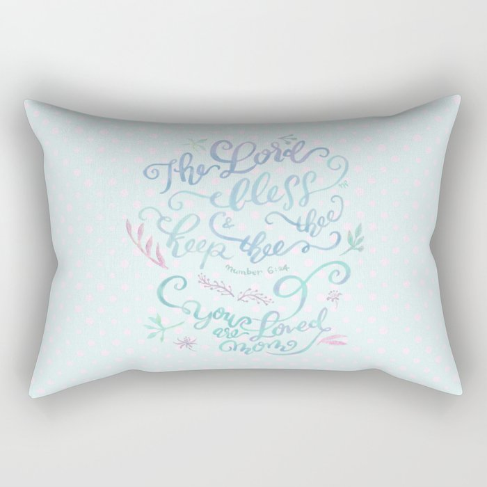 You Are Loved Mom - Number 6:24 - Polka dots Rectangular Pillow