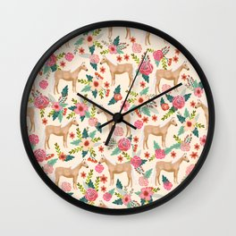 Palomino Horse floral farm nature animal horse lovers ponies florals Wall Clock