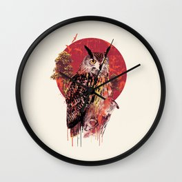 Owl Red Wall Clock