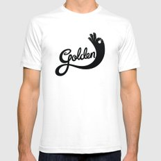 Golden! SMALL White Mens Fitted Tee