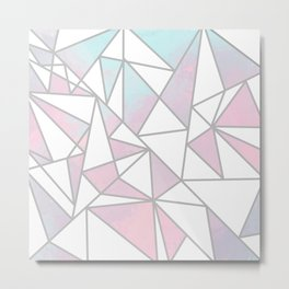Modern white pink teal watercolor geometrical shapes Metal Print