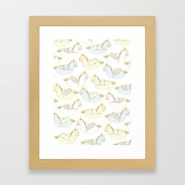 Sleepy lazy cats in unicorn floaties Framed Art Print
