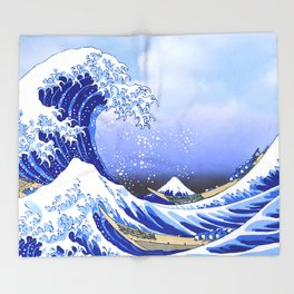 Surf's Up! The Great Wave Throw Blanket