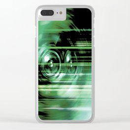 Green music speakers Clear iPhone Case