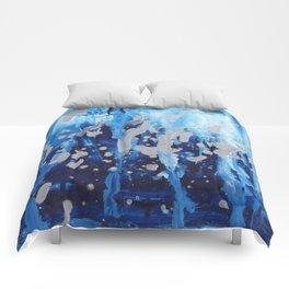 Blue waterfall encaustic painting Comforters