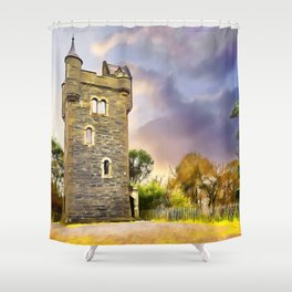 Helens Tower, Conlig , Ireland. (Painting) Shower Curtain