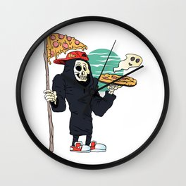 Pizza delivery reaper grim Wall Clock